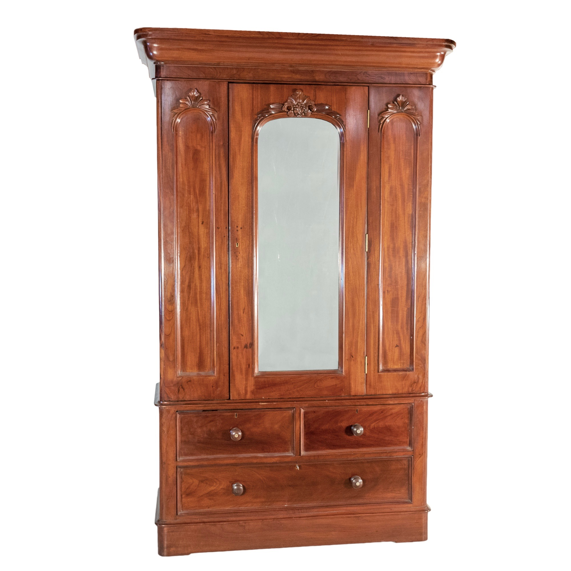 'Australian Cedar Wardrobe with Central Mirrored Panel Above Drawers Late 19th Century'