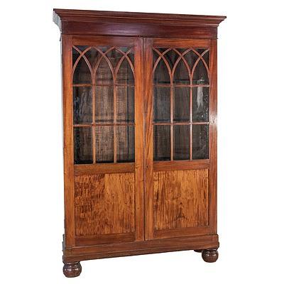 Mahogany Astragal Glazed Bookcase on Large Bun Feet Mid 19th Century
