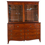 Rare Extended Double Width George III Mahogany Astragal Glazed Secretaire Bookcase Circa 1800