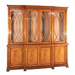 Large Sheraton Revival Satinwood Breakfront Display Cabinet Bookcase 20th Century