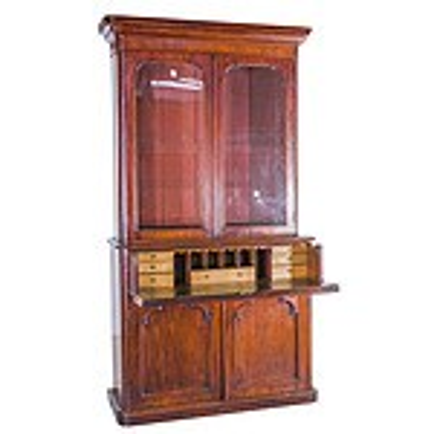 Victorian Mahogany Secretaire Bookcase with Birdseye Maple Veneered Interior