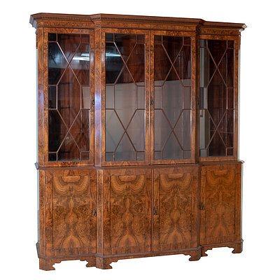 Large George III Style Walnut Astragal Glazed Breakfront Bookcase English 20th Century