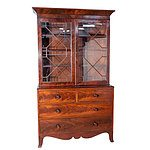 Georgian Astragal Glazed Flame Mahogany Bookcase Early 19th Century