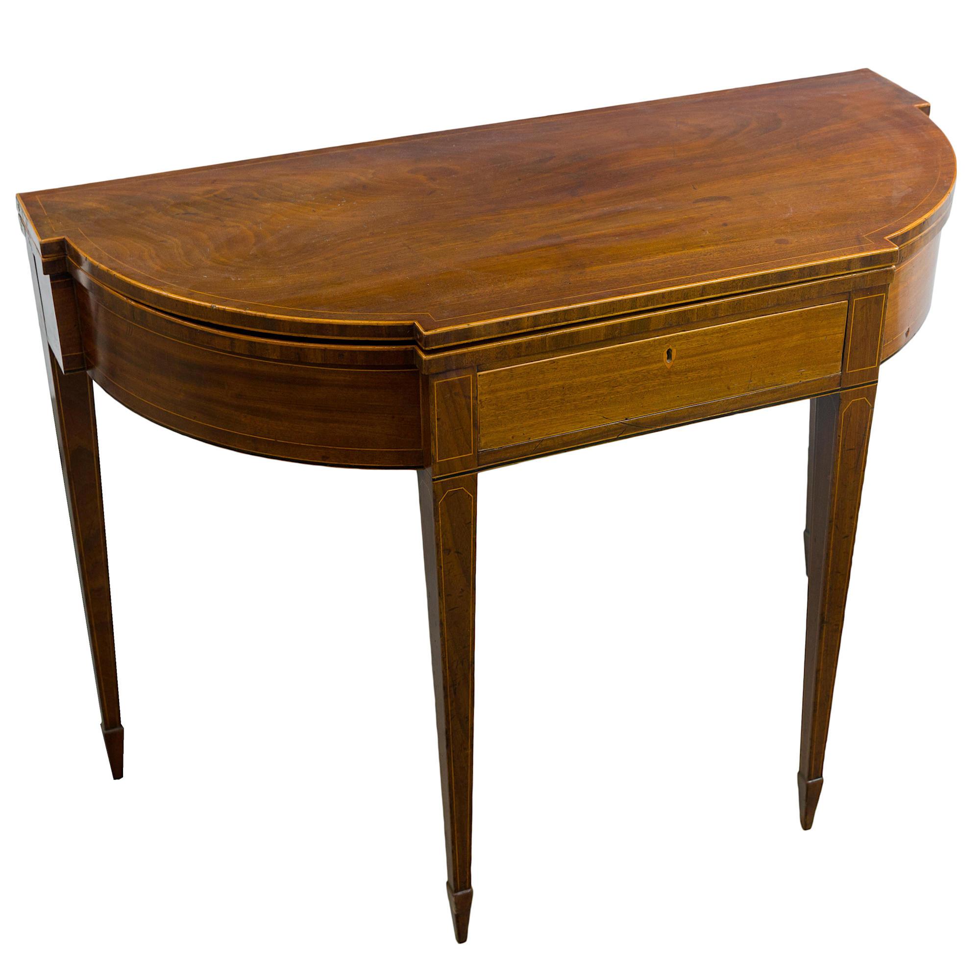'George III Mahogany and String Inlaid Foldover Tea Table Circa 1800'