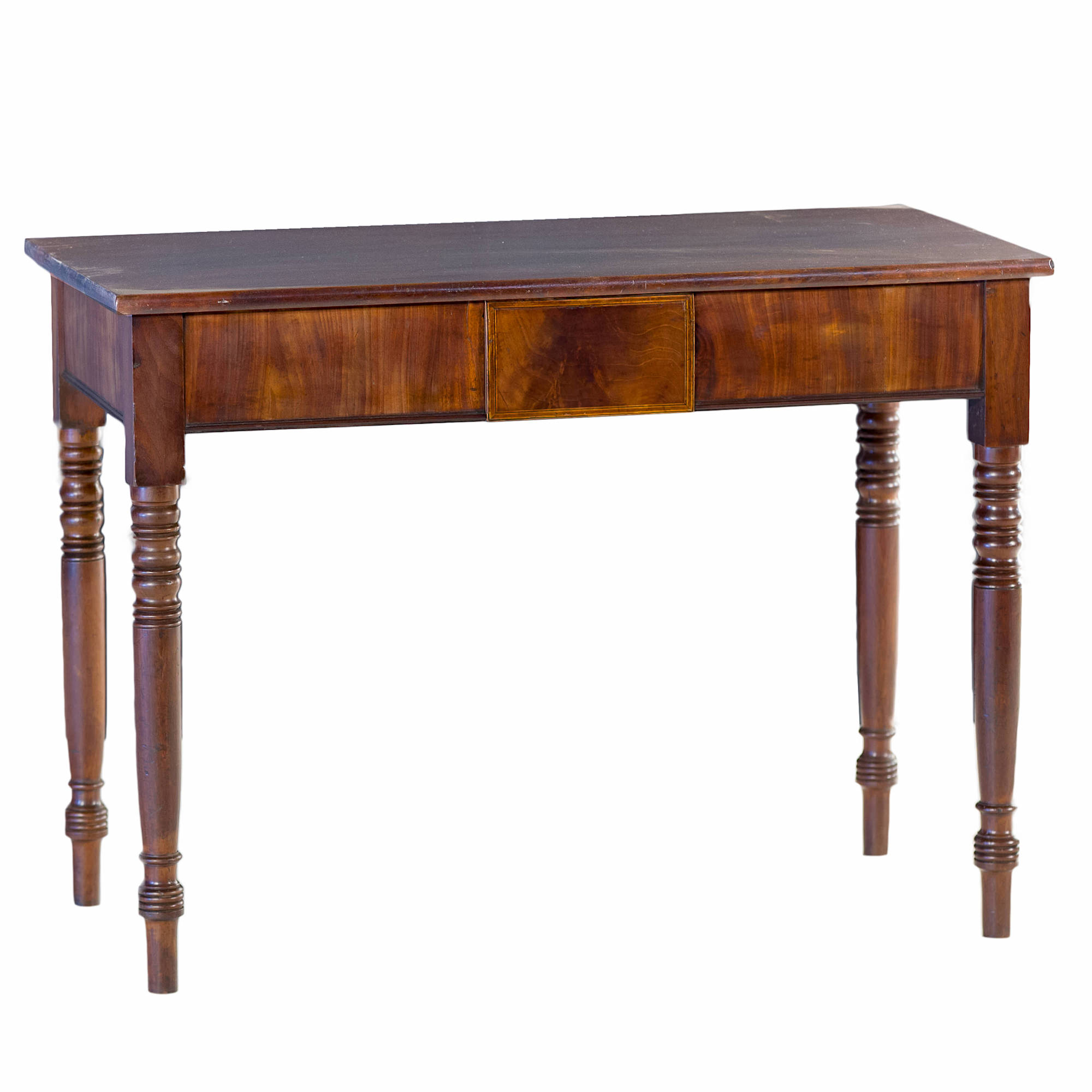'George IV Mahogany Side Table with Ebony and Boxwood Strung Central Drawer Circa 1830'