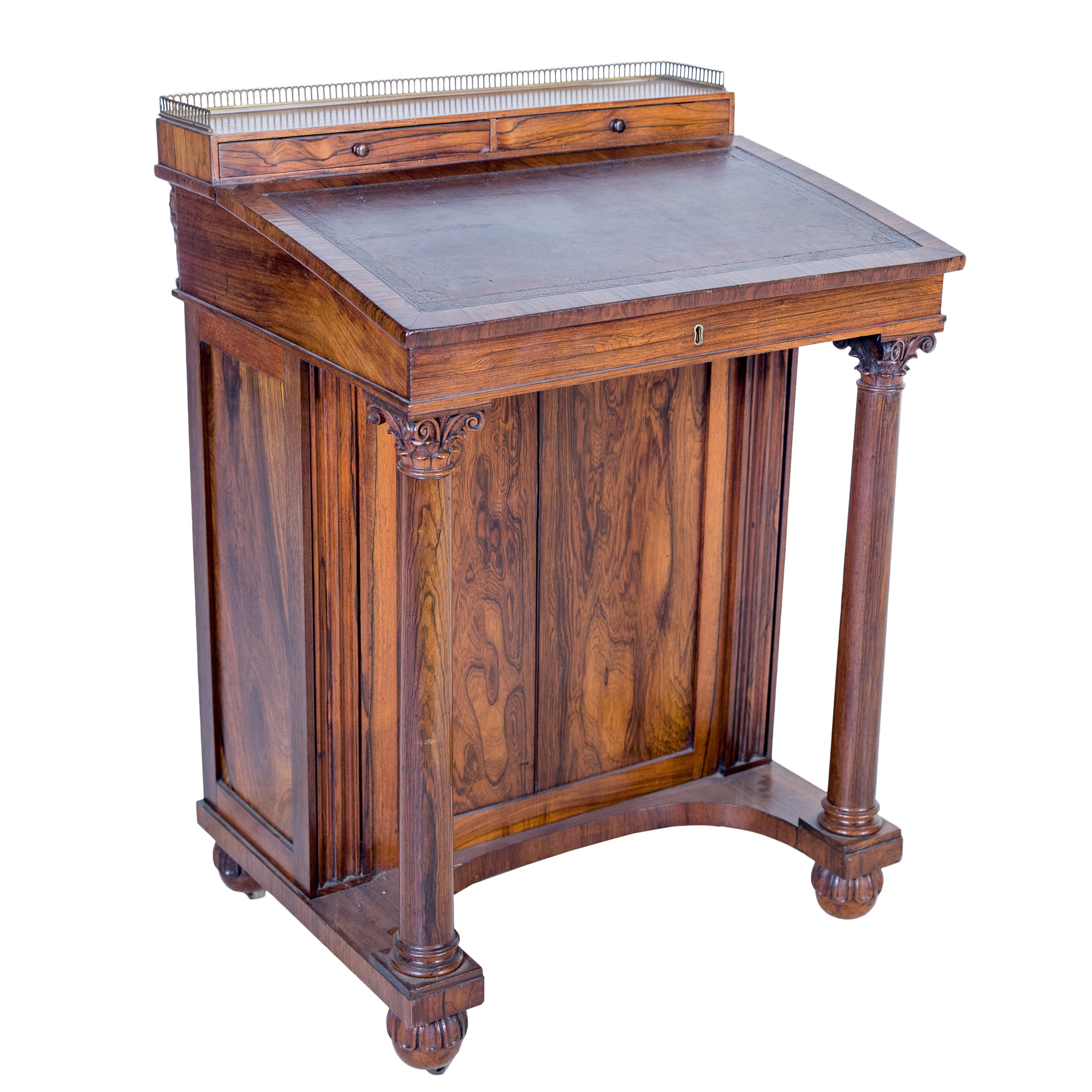 'William IV Brazilian Rosewood Davenport with Brass Gallery and Tooled Leather Inlay Circa 1835'