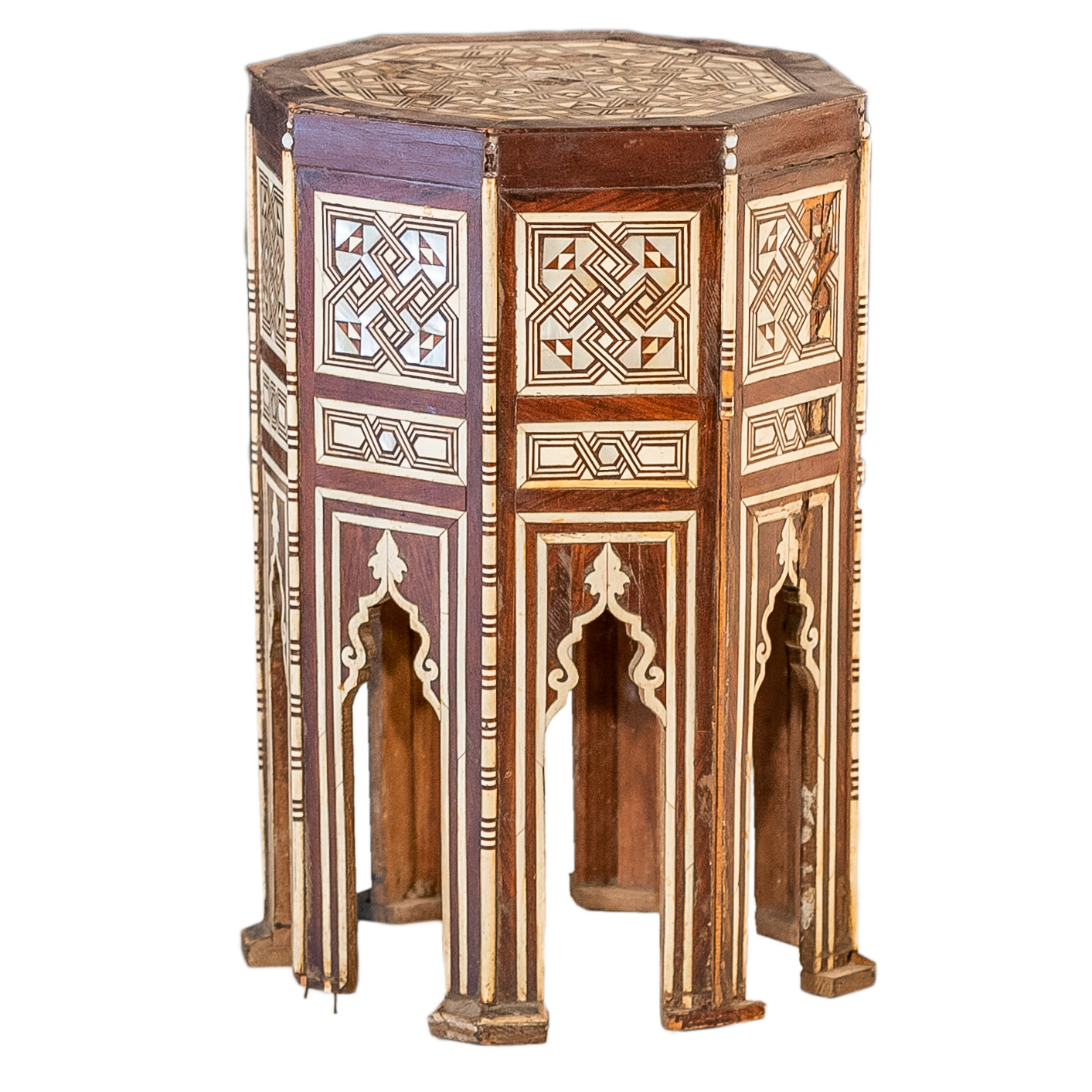 'Middle Eastern Bone and Mother of Pearl Inlaid Octagonal Tabouret Circa 1900 '