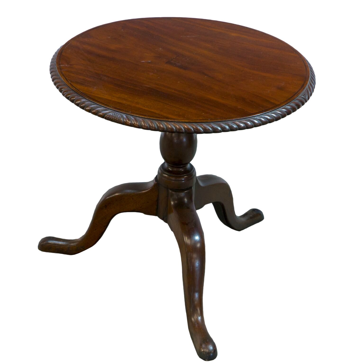 'Georgian Mahogany Wine Table with Yew Wood Inlay and Later Rope Carved Edge'
