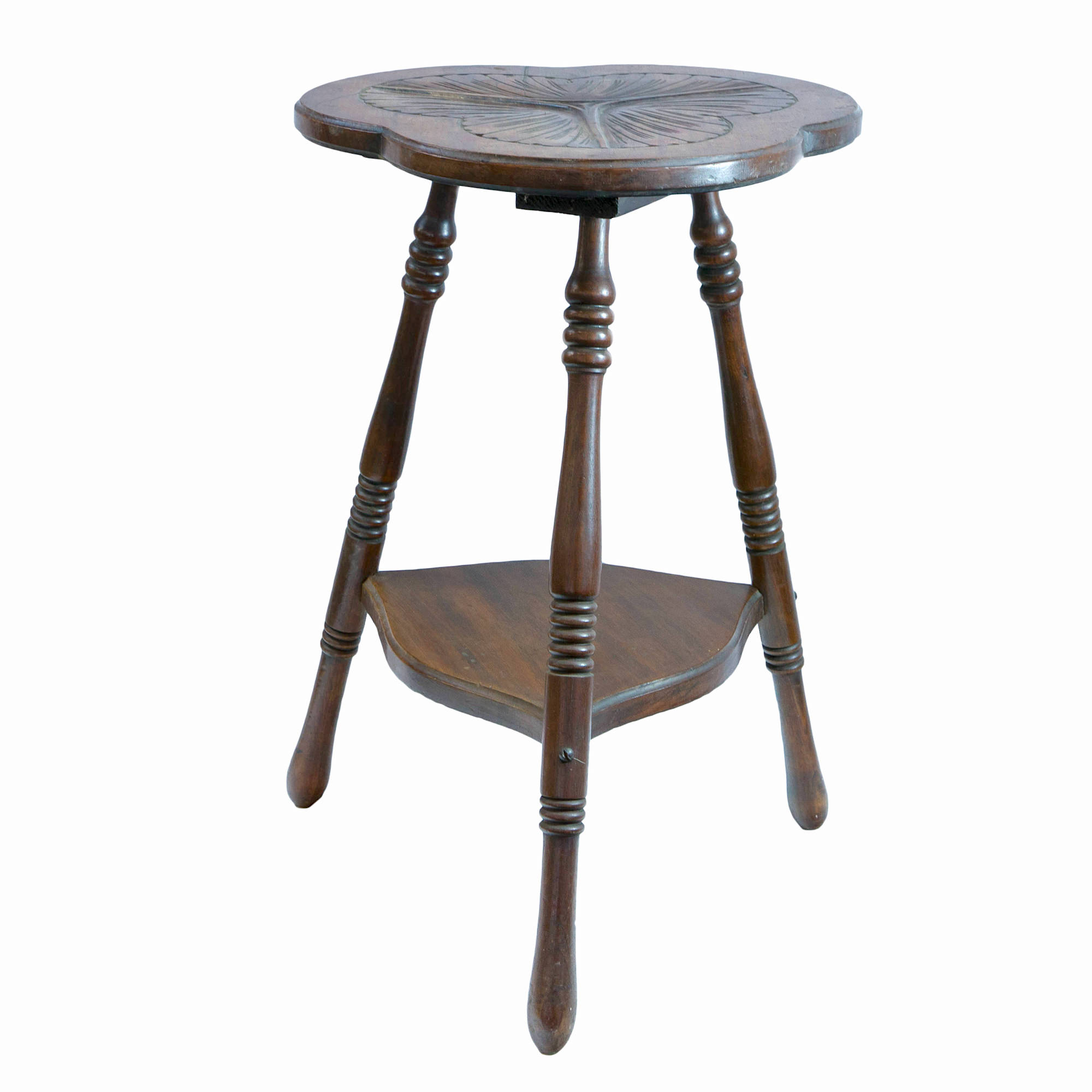 'Small Arts & Crafts Style Carved Walnut Side Table Early 20th Century'
