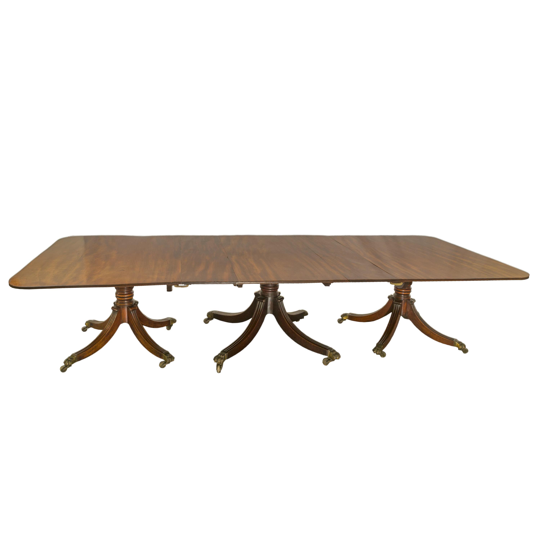 'Impressive Regency Mahogany Triple Pedestal Dining Table Circa 1815'