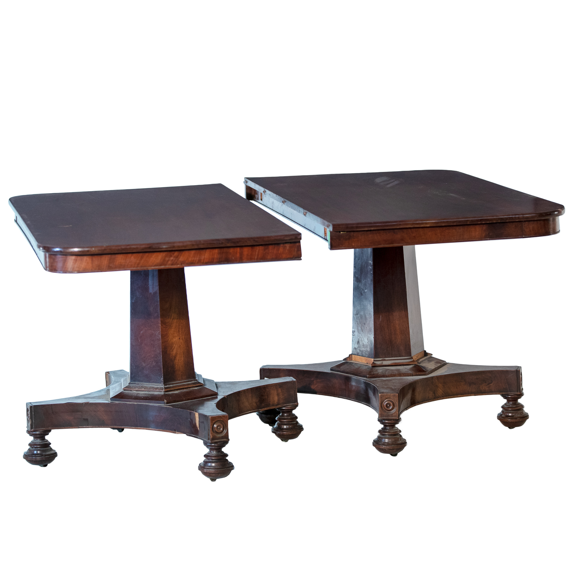 'Early Victorian Mahogany Twin Pedestal Extension Table Circa 1840'