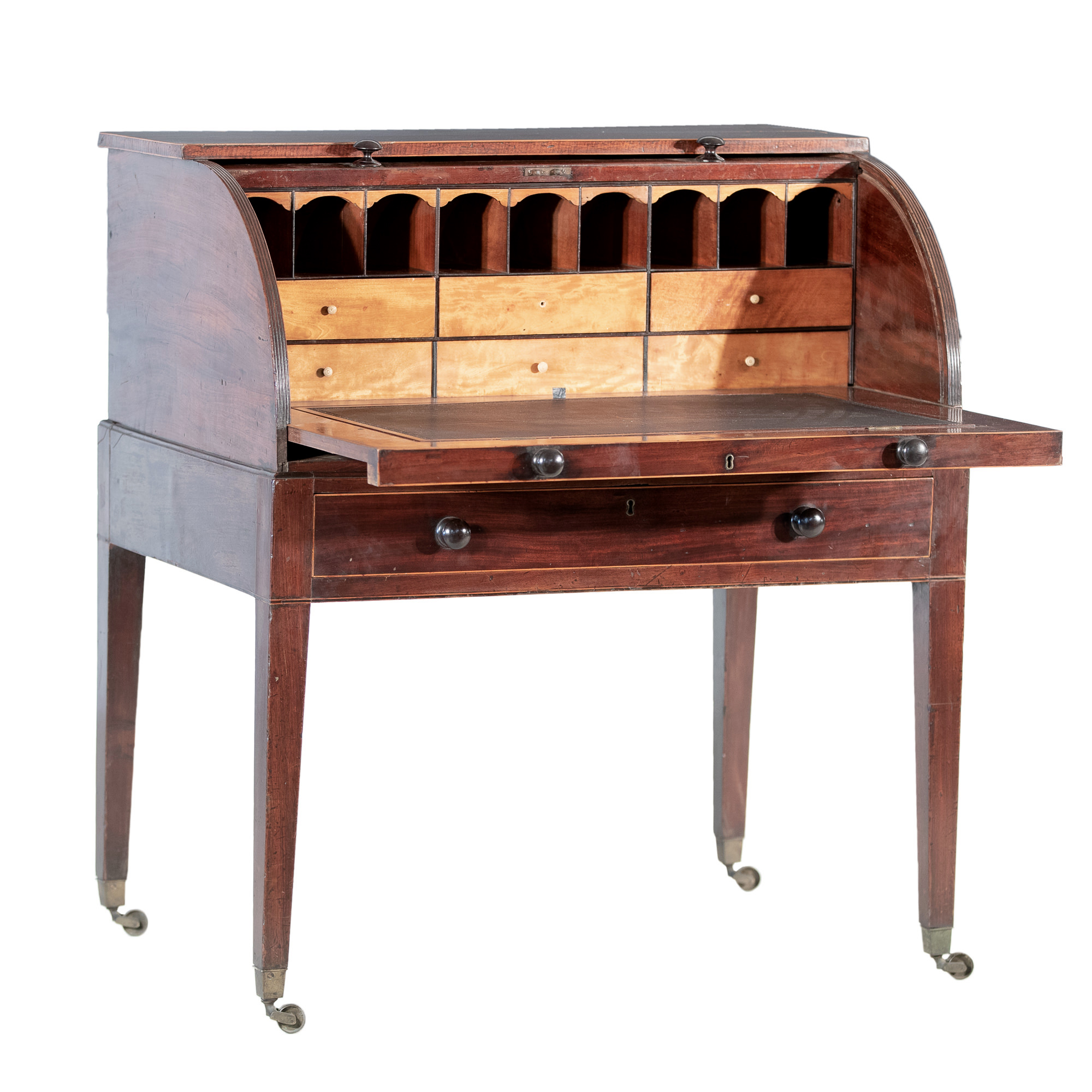 'George III Mahogany and Sycamore Lined Cylinder Top Writing Desk Circa 1800'