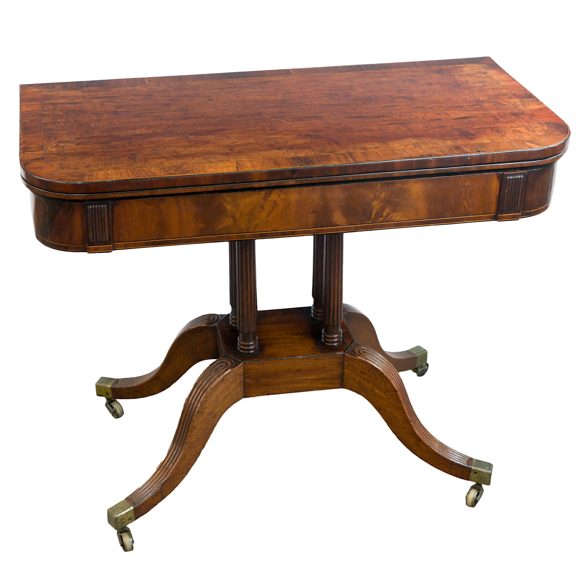 'Regency Plum Pudding Mahogany and Rosewood Banded Foldover Tea Table Circa 1815'