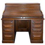 Cutler Oak Tambour Pedestal Desk Circa 1910