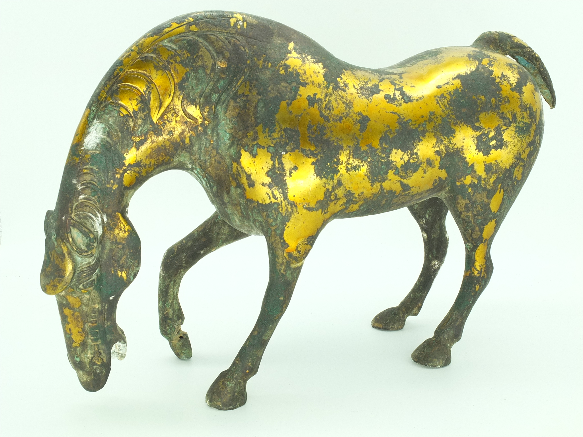 'Chinese Gilt Cast Metal Horse 20th Century'