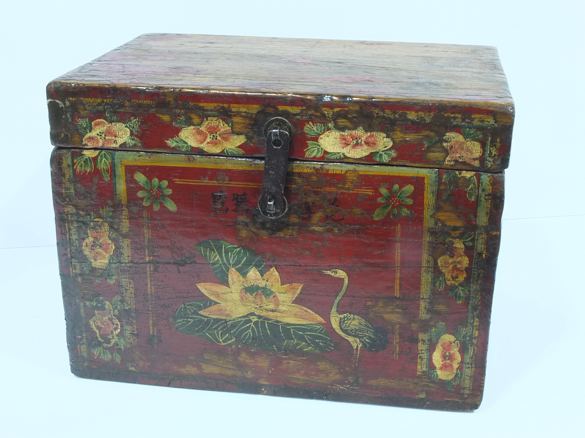 'Chinese Provincial Polychrome Painted Elm Box'