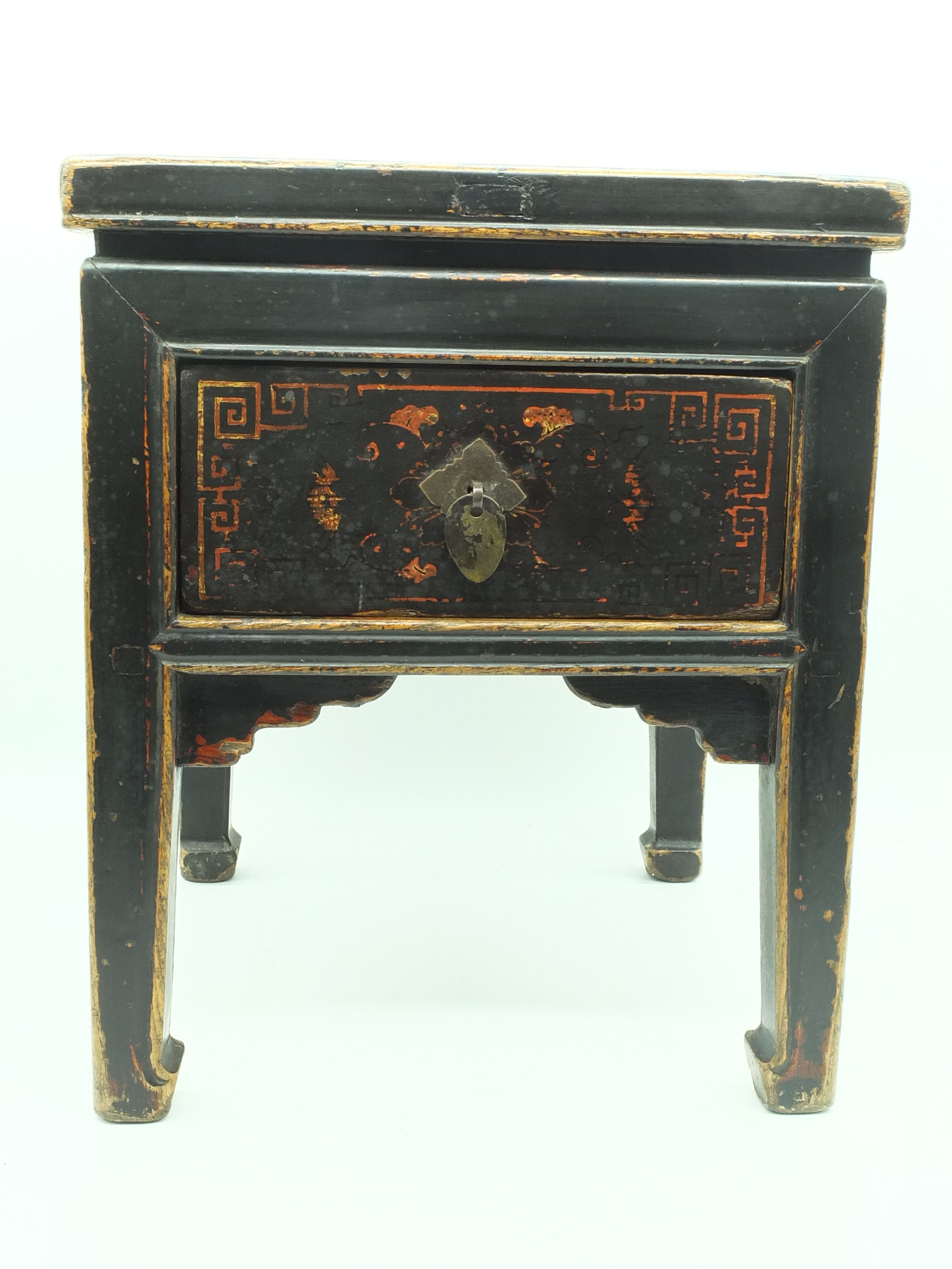 'Small Chinese Black Lacquered Elm Square Kang Table'