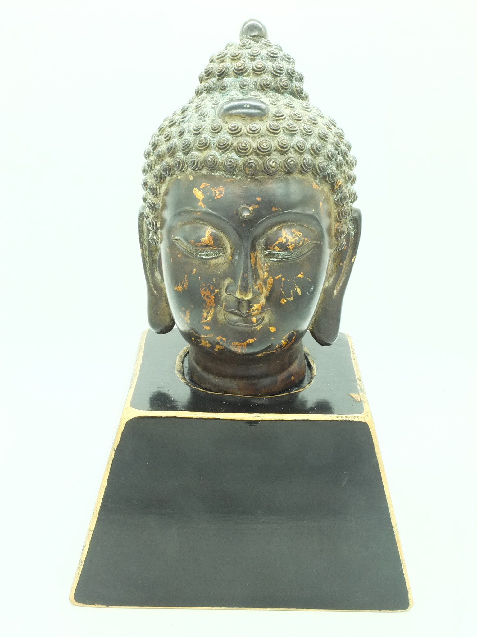 'Reproduction Cast Metal Majapahit Buddha Head with Stand'