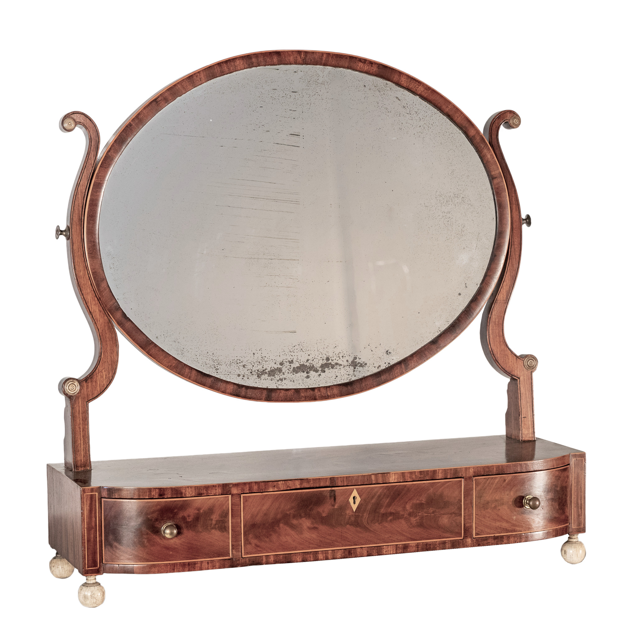 'George III Mahogany and Boxwood Strung and Ivory Embellished Toilet Mirror with Three Drawers Circa 1800'
