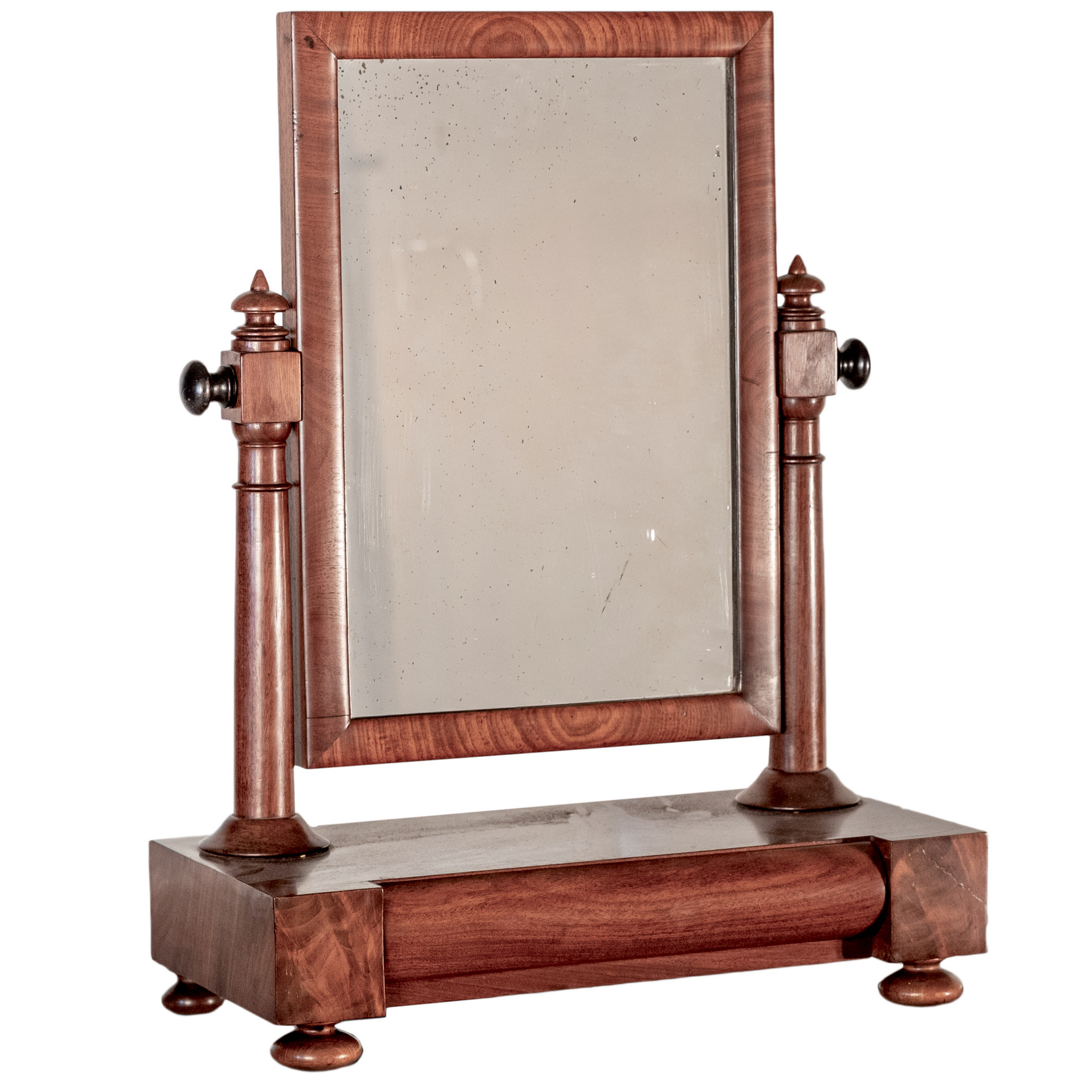 'Victorian Mahogany Toilet Mirror with Ebonised Knobs and Single Drawer 19th Century '