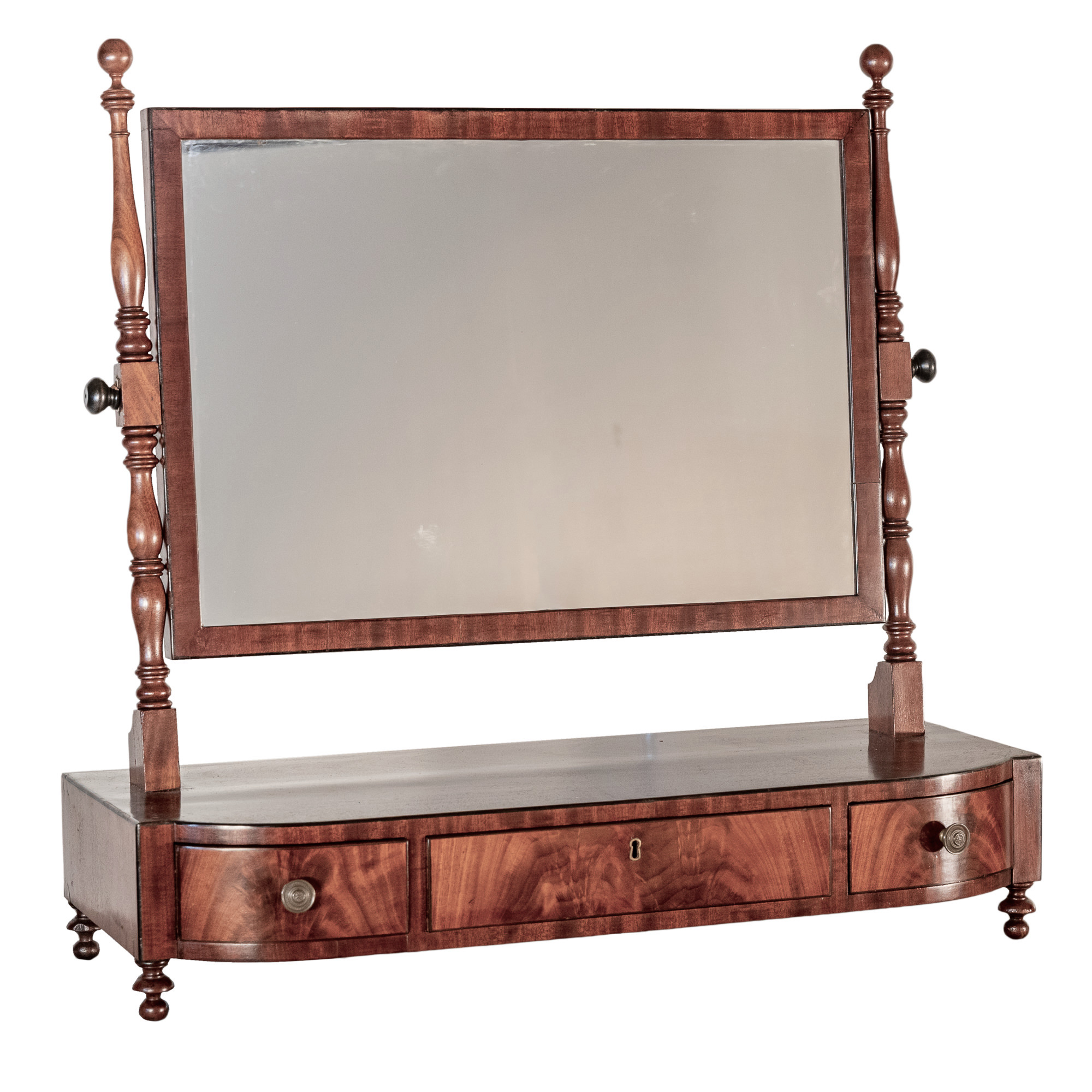 'George III Ebony Strung Mahogany Toilet Mirror with Three Drawers Early 19th Century'