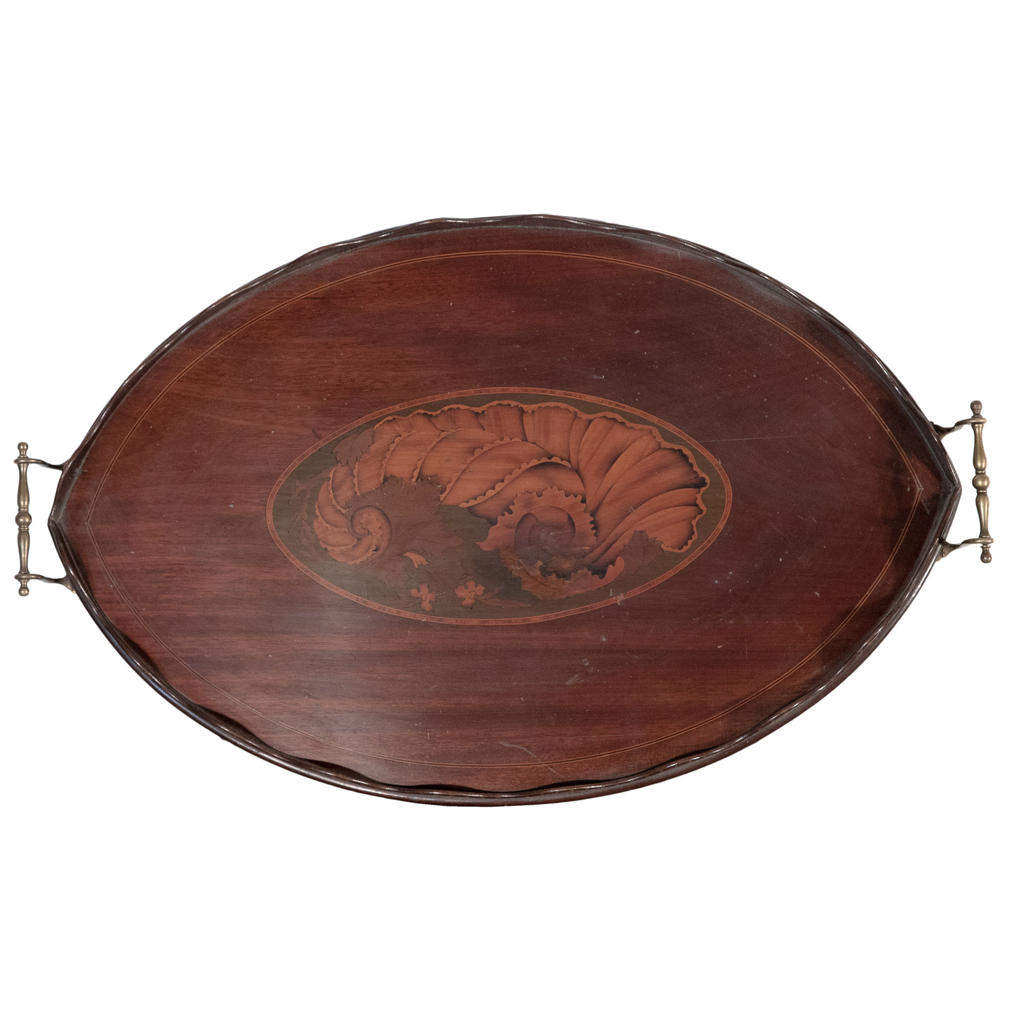 'George III Ebony and Boxwood Strung Mahogany Butlers Tray with Inlaid Large Shell Motif Circa 1800'