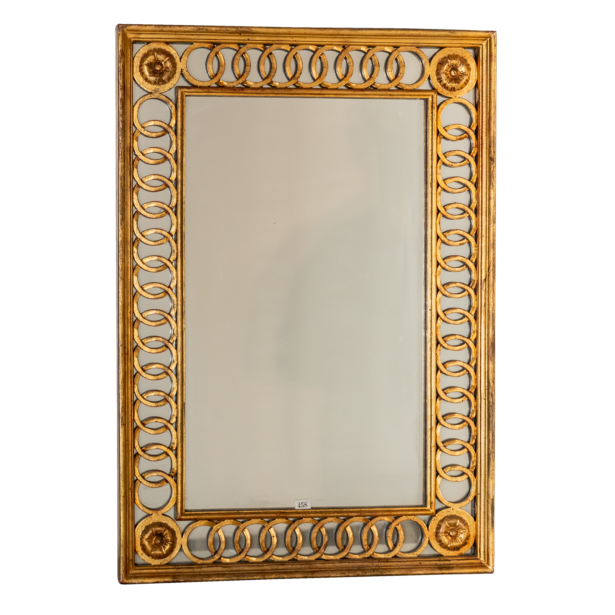 'Classical Style Carved and Pierced Giltwood Framed Mirror with Chain Border 20th Century'