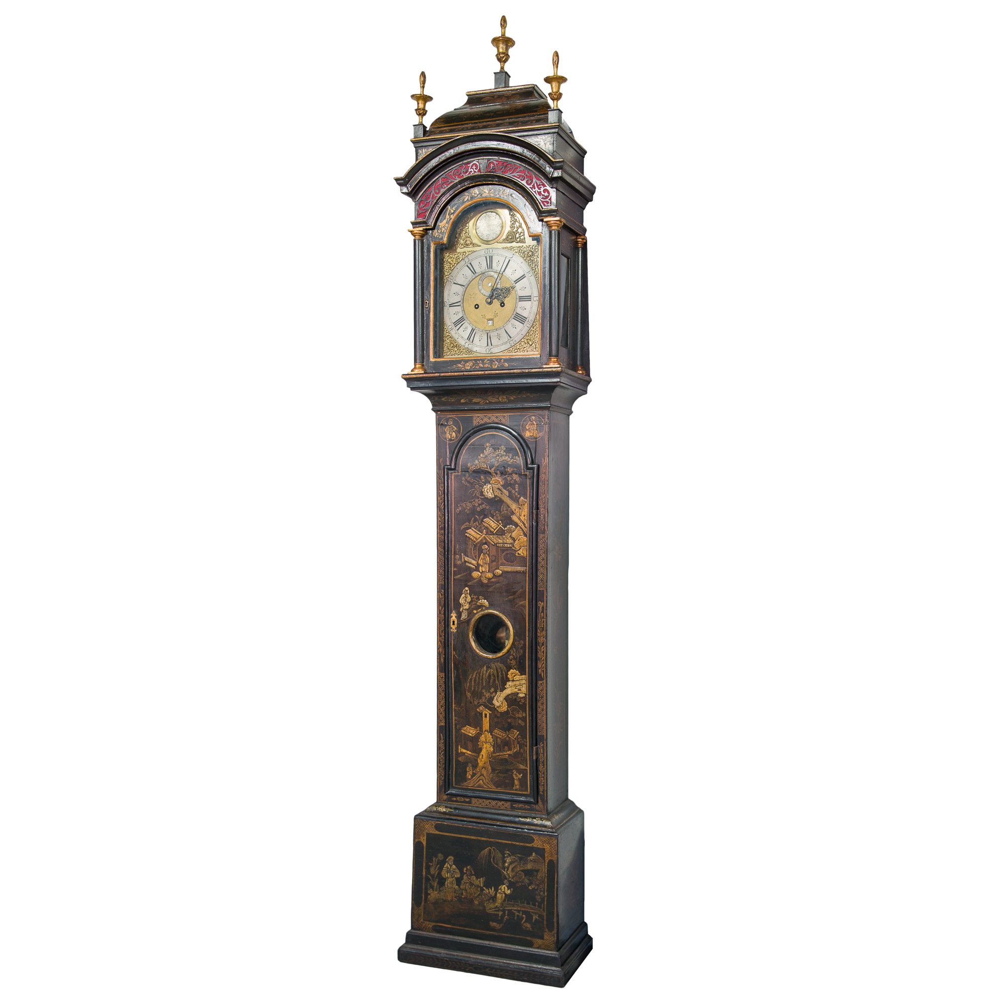 'George II Chinoiserie Longcase Clock by William Kipling of London Circa 1845'