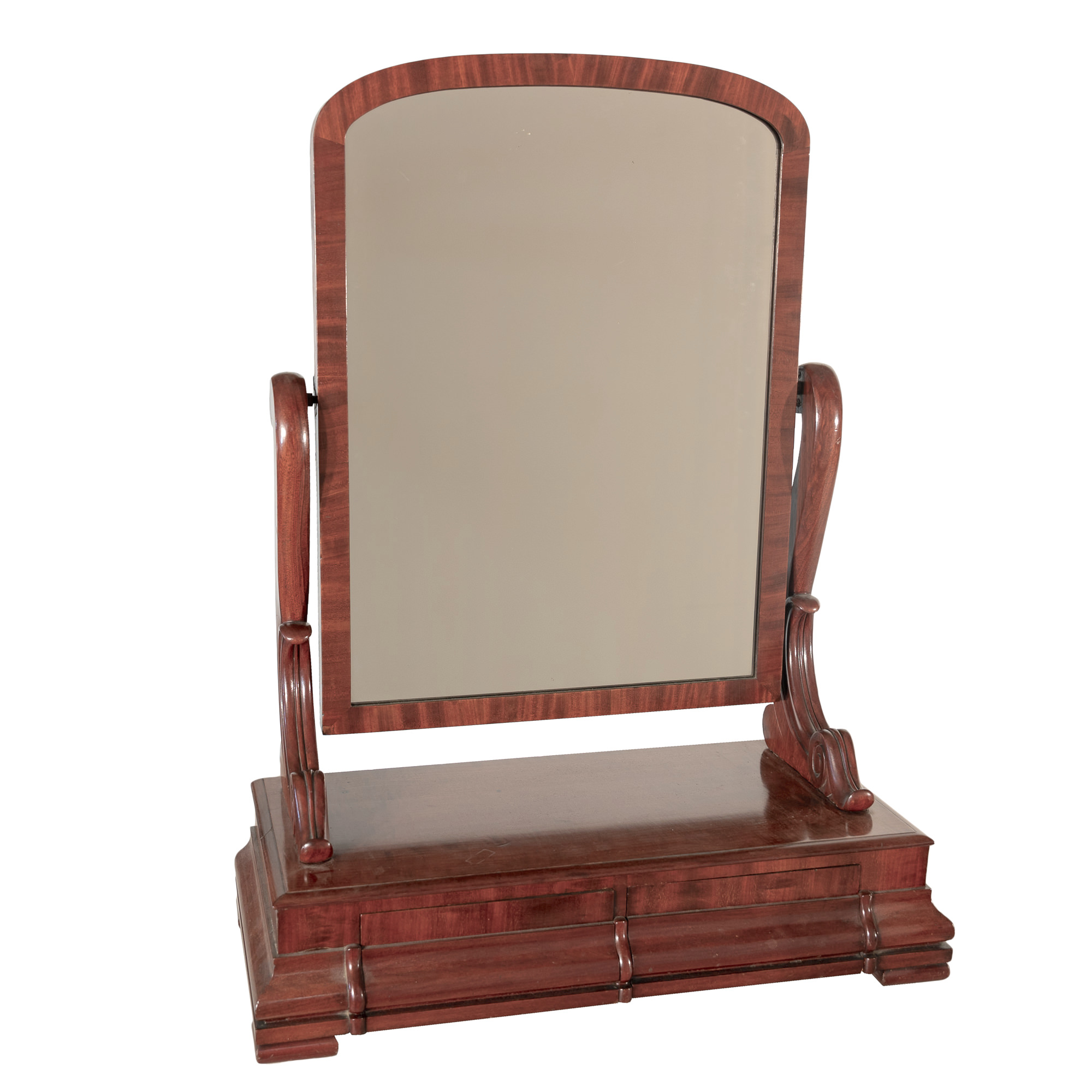 'Early Victorian Mahogany Toilet Mirror with Two Drawers Circa 1850'