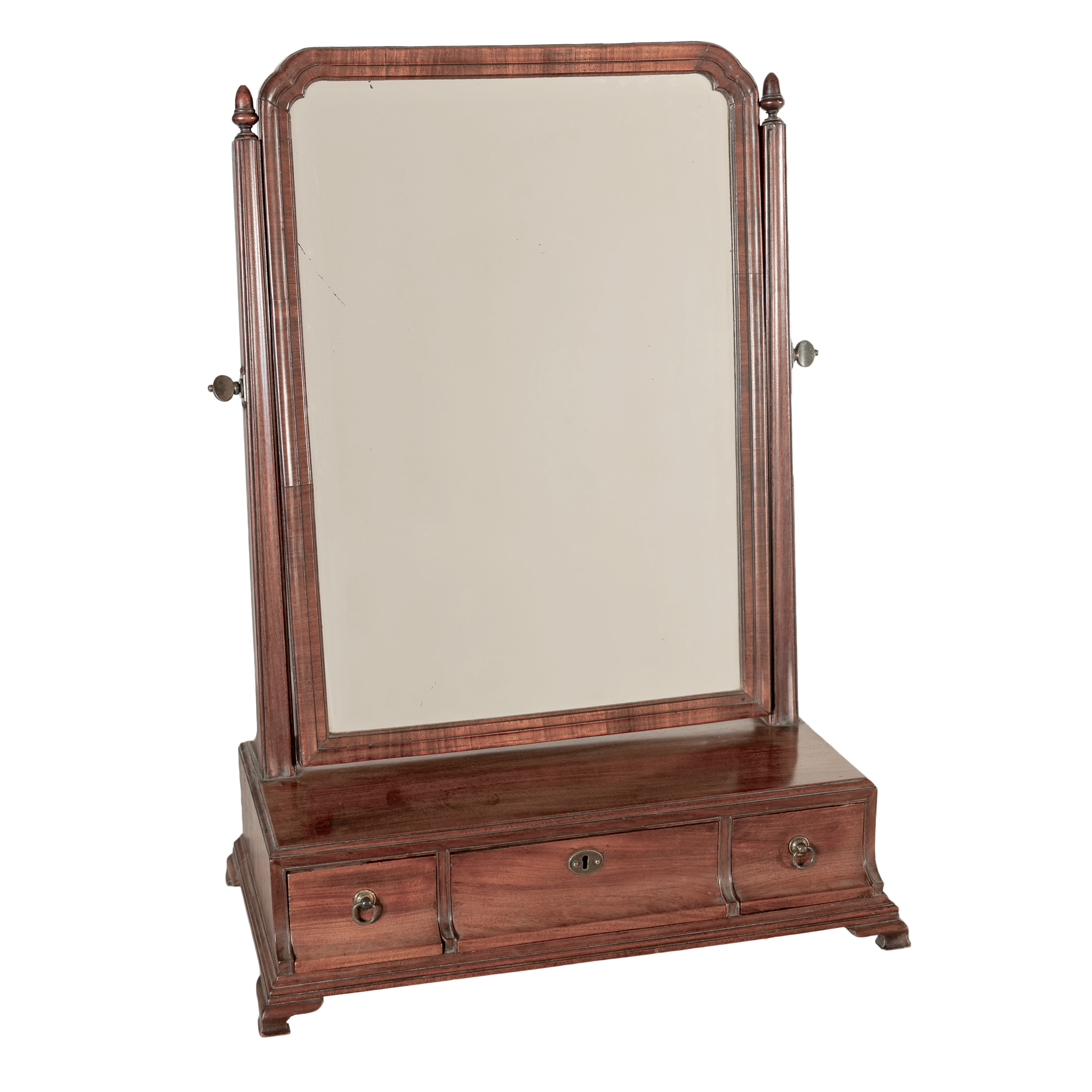 'George III Mahogany Toilet Mirror with Bevelled Glass and Three Drawers on Ogee Bracket Feet Early 19th Century'