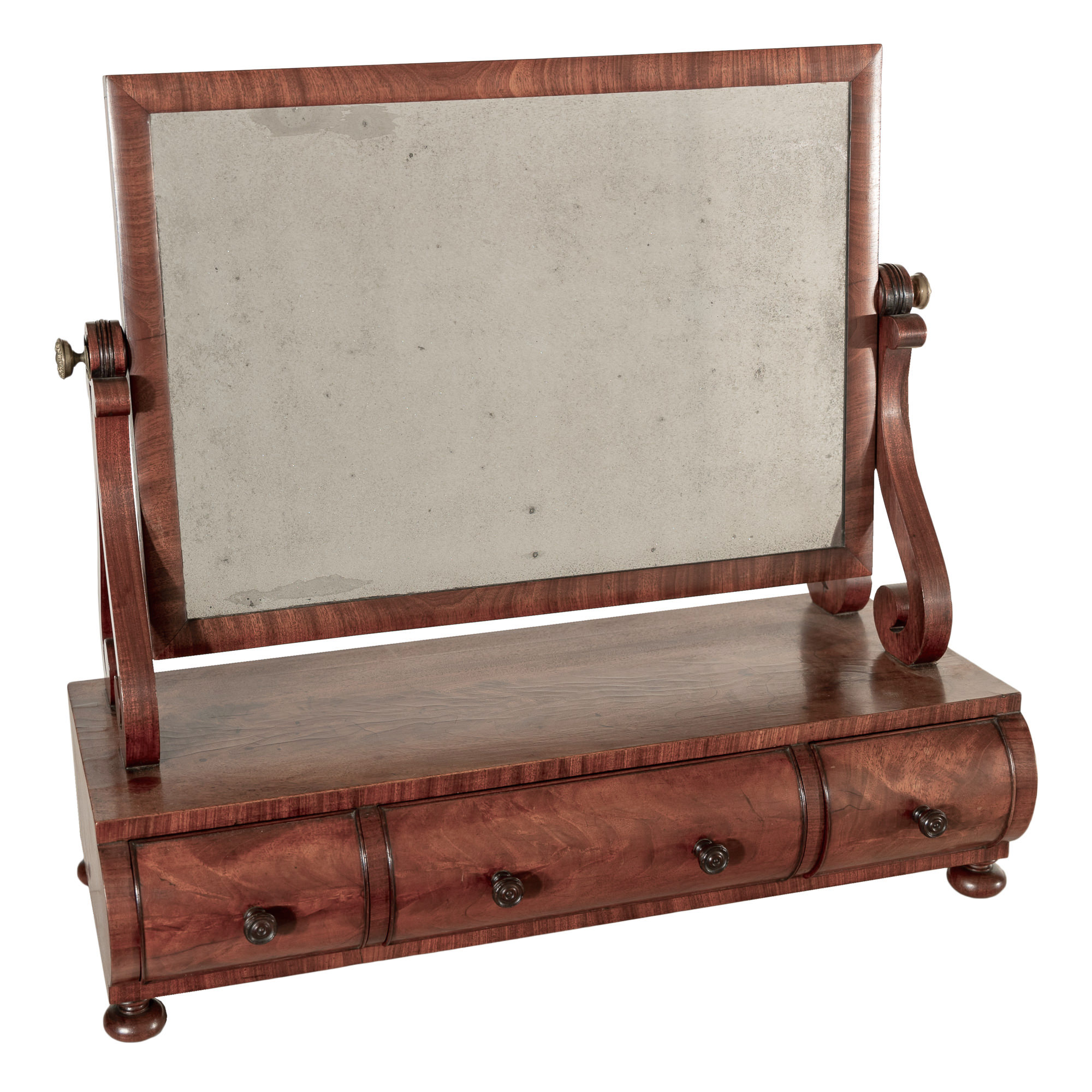'Georgian Mahogany Toilet Mirror with Three Cylinder Fronted Drawers Early 19th Century'