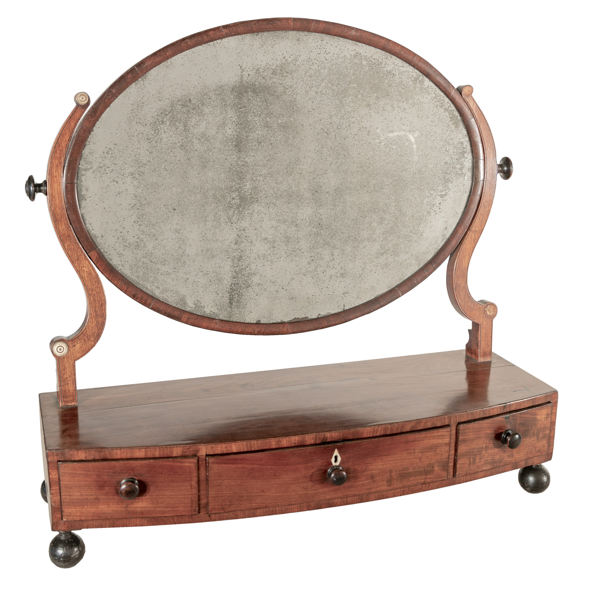 'George III Toilet Mirror with Ebonised Feet and Three Drawers Circa 1800'