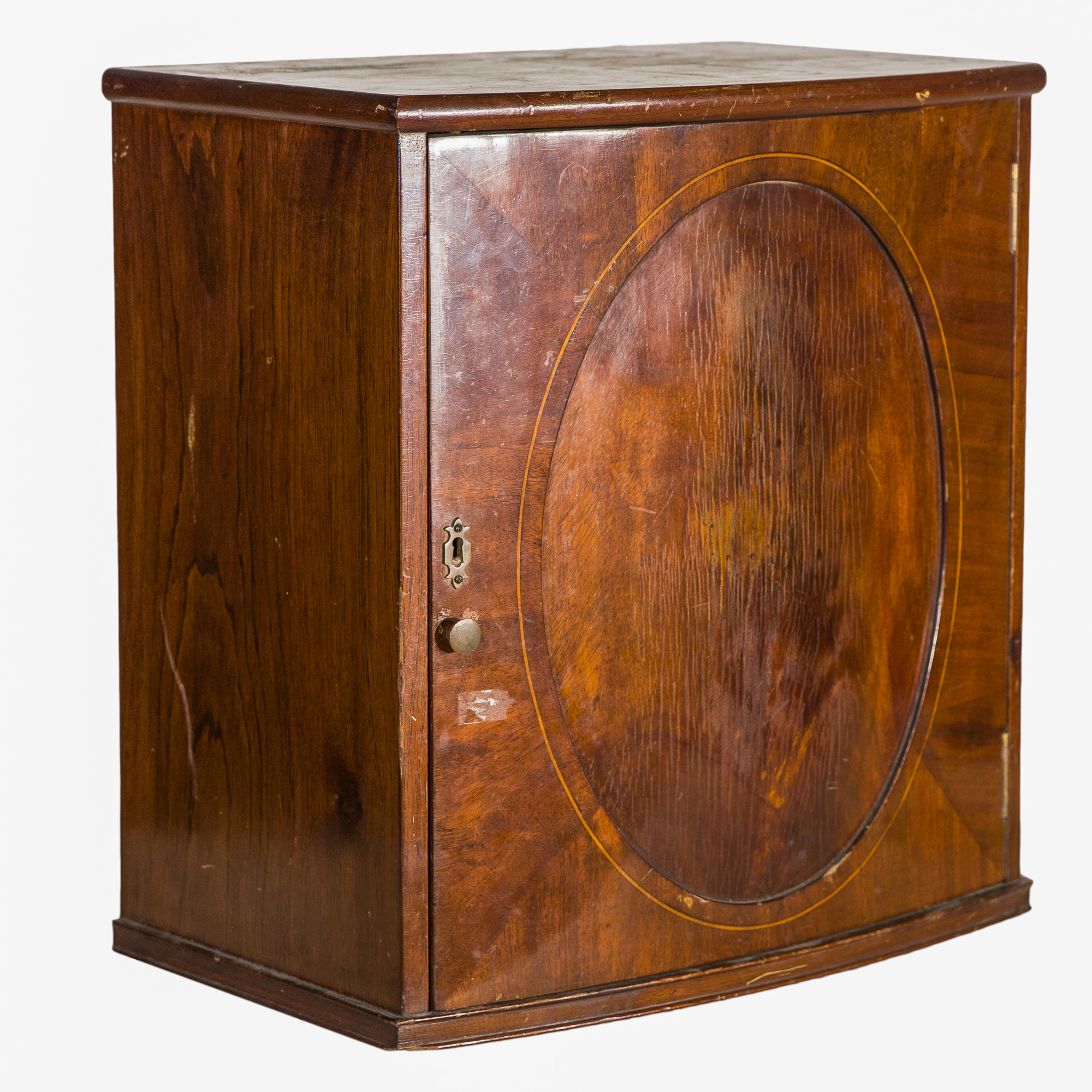 'Regency Style Small Inlaid Mahogany Bowfront Cabinet'