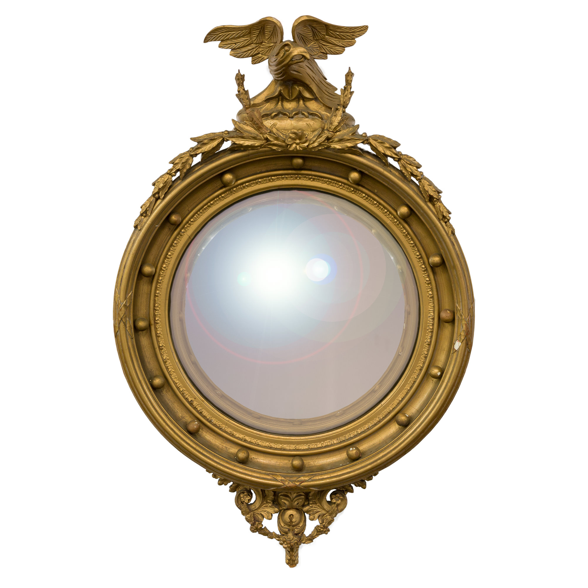'Regency Style Carved Giltwood Eagle Crested Convex Mirror'