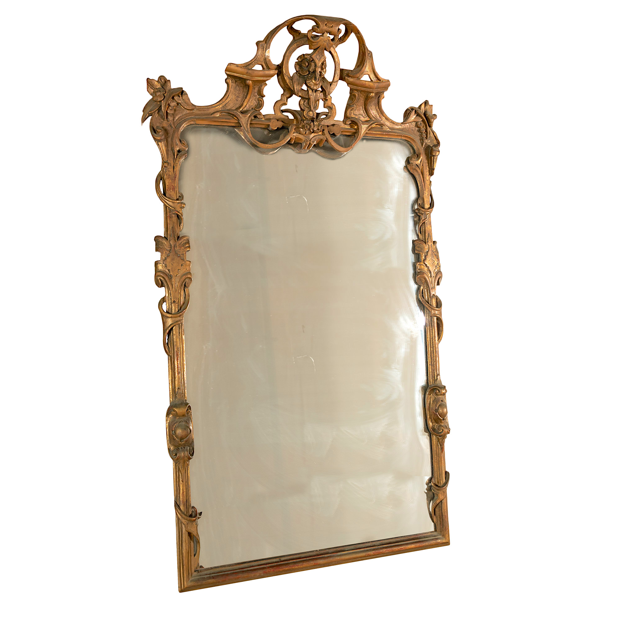 'Large English Scrolled And Foliate Carved Giltwood Mirror 19th Century'