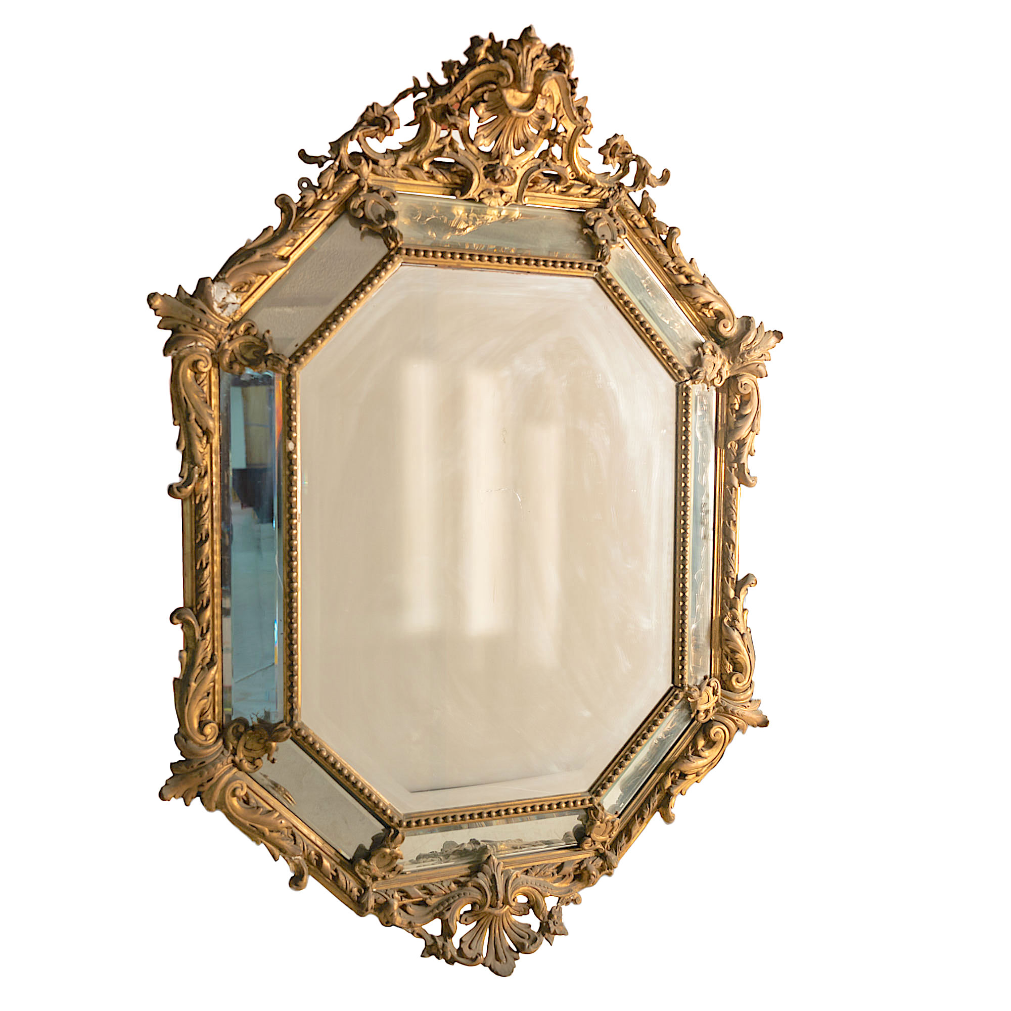 'Impressive 19th Century Carved Giltwood Salon Mirror with Bevelled Glass Plates'