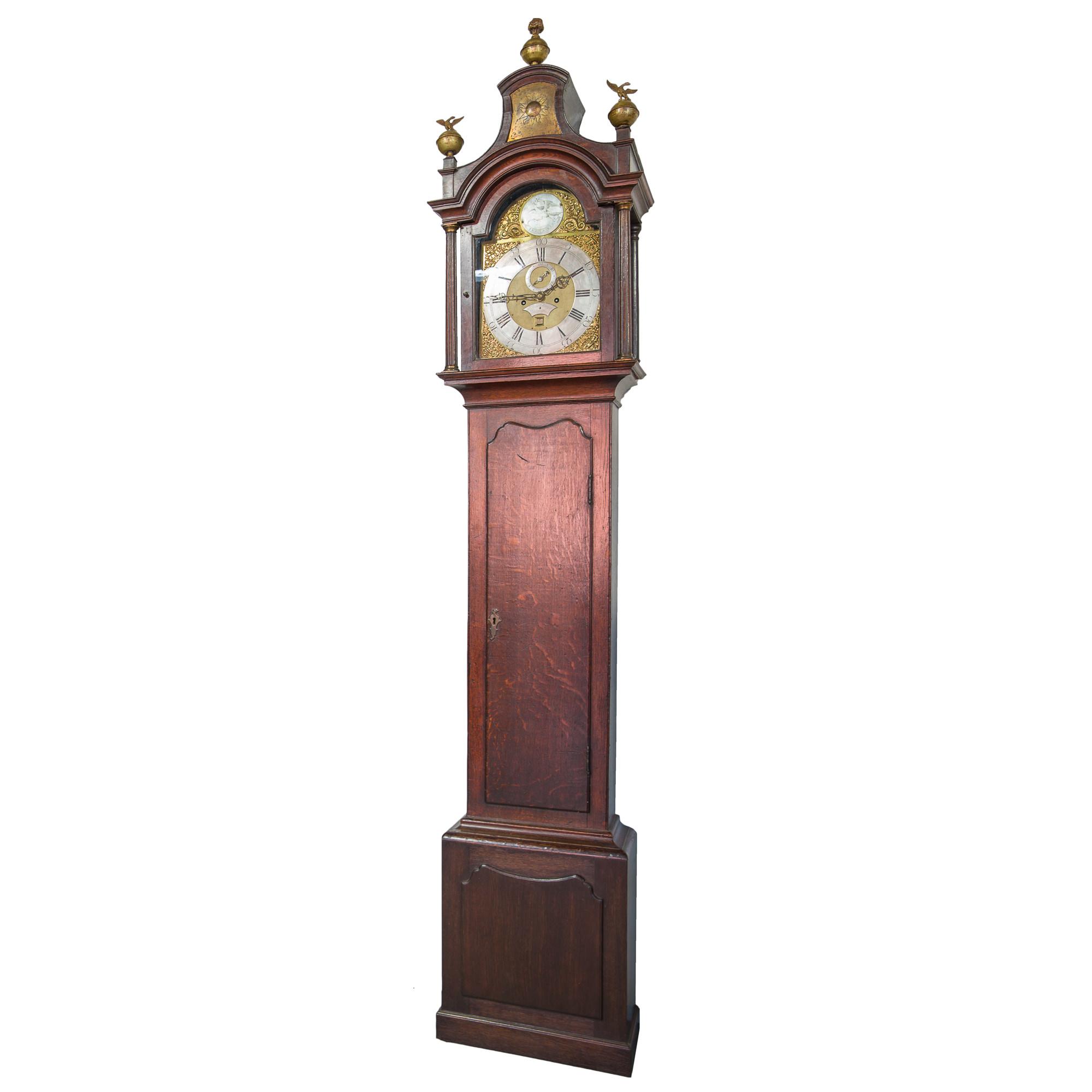 'George III Oak Longcase Clock by Thomas Brown of Birmingham Circa 1780'