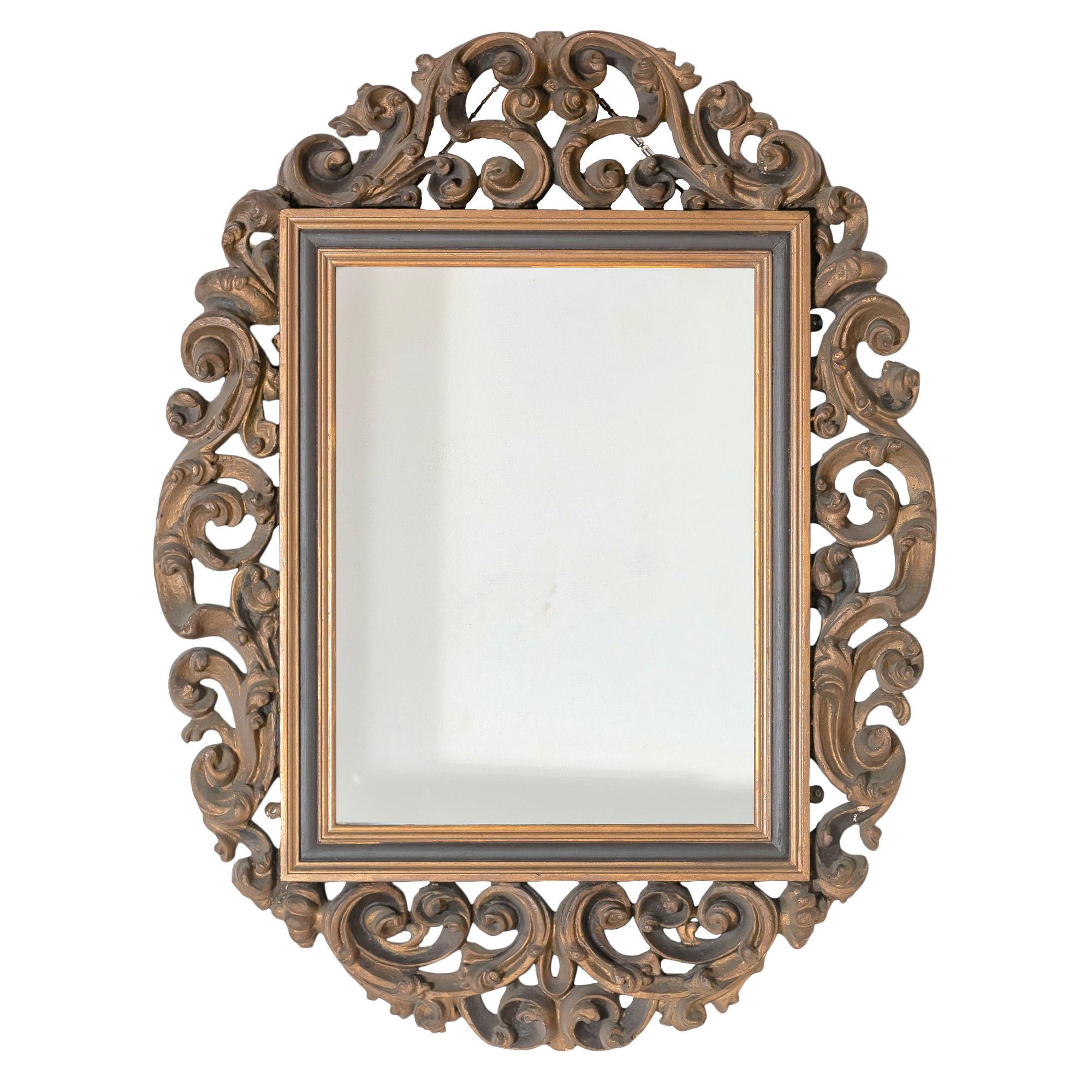 'Moulded Gesso Foliate Scroll Framed Wall Mirror 20th Century'