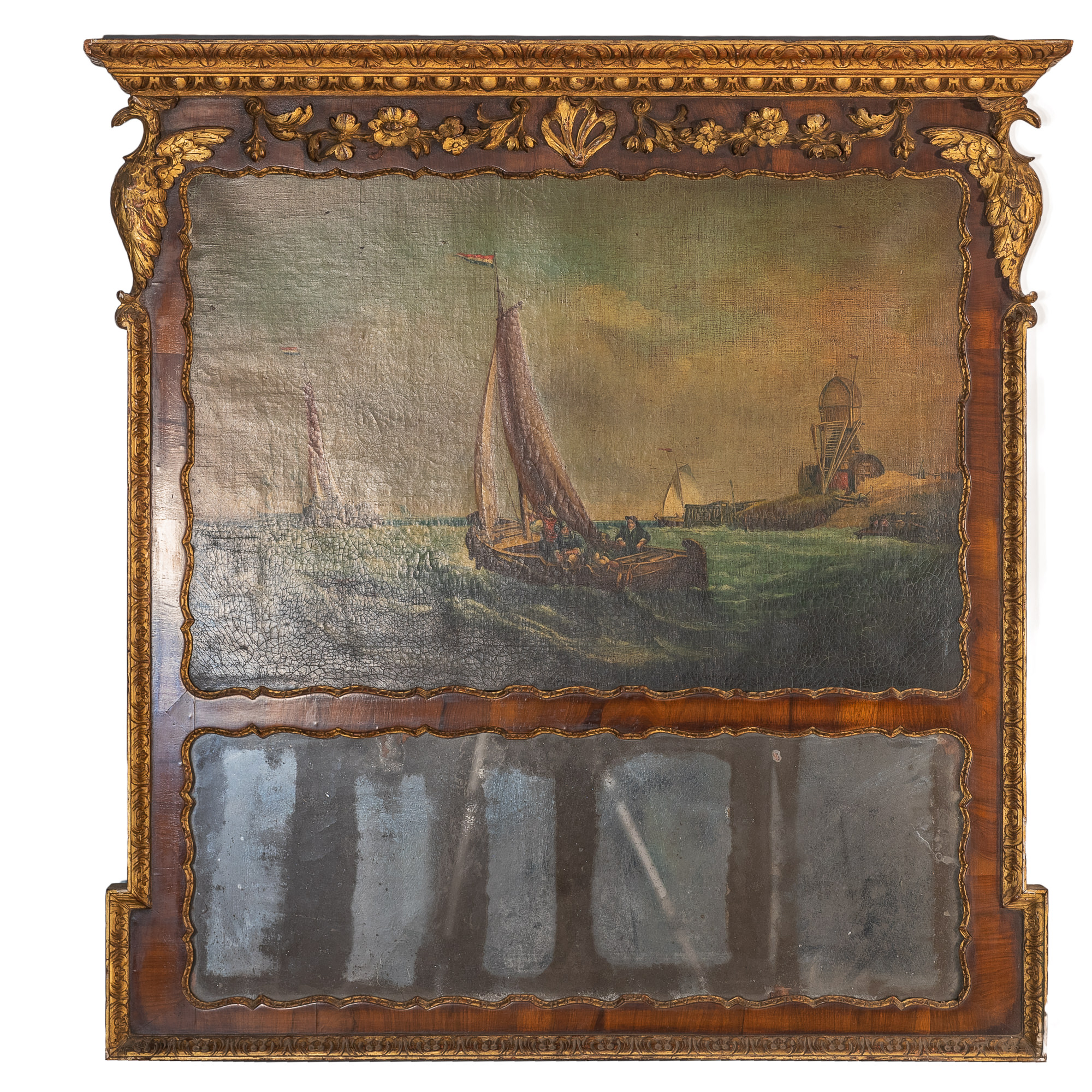 'Regency Carved Giltwood And Mahogany Trumeau Mirror Painted with A Nautical Scene 19th Century'