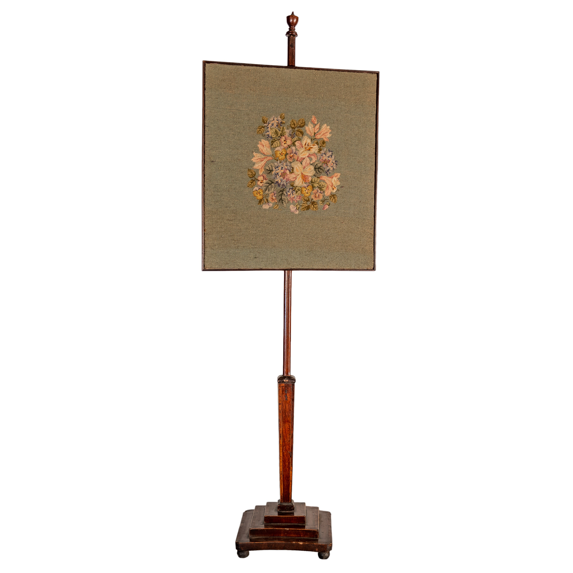 'Mahogany Pole Screen with Needlepoint Embroidered Floral Panel'