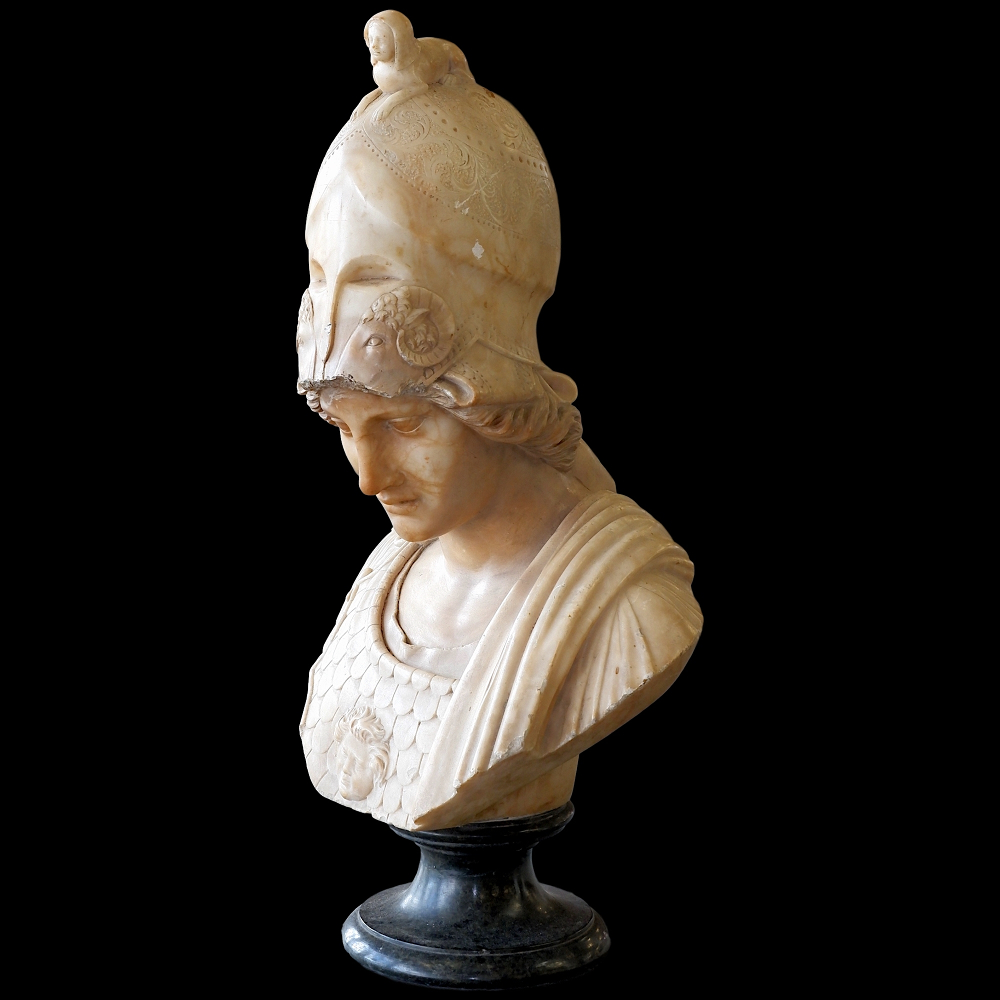 '19th Century Carved Alabaster Bust of Athena on a Marble Socle '