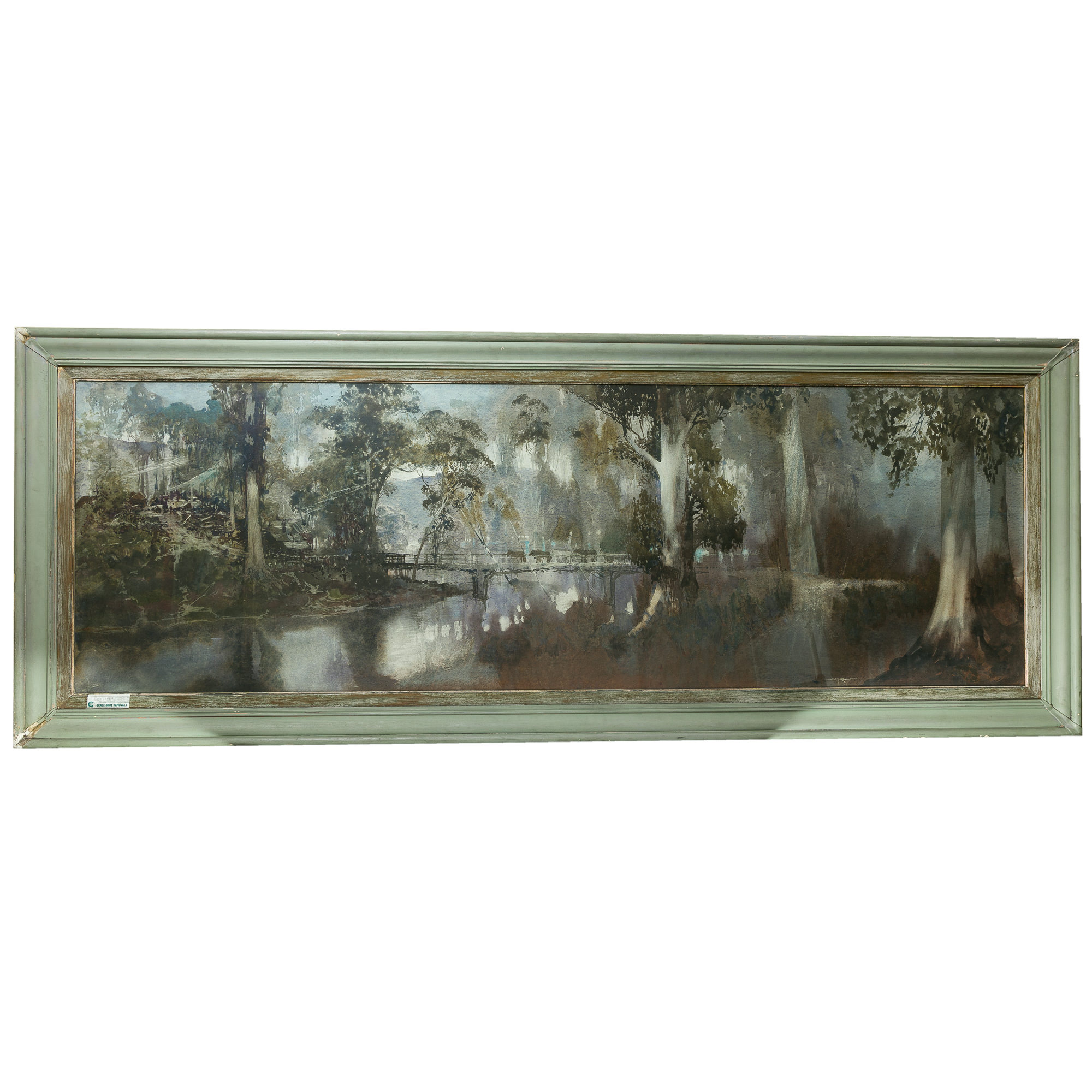 'Blamire W Young (1862-1935) Draft Horses Among the River Gums Watercolour, Major Work'