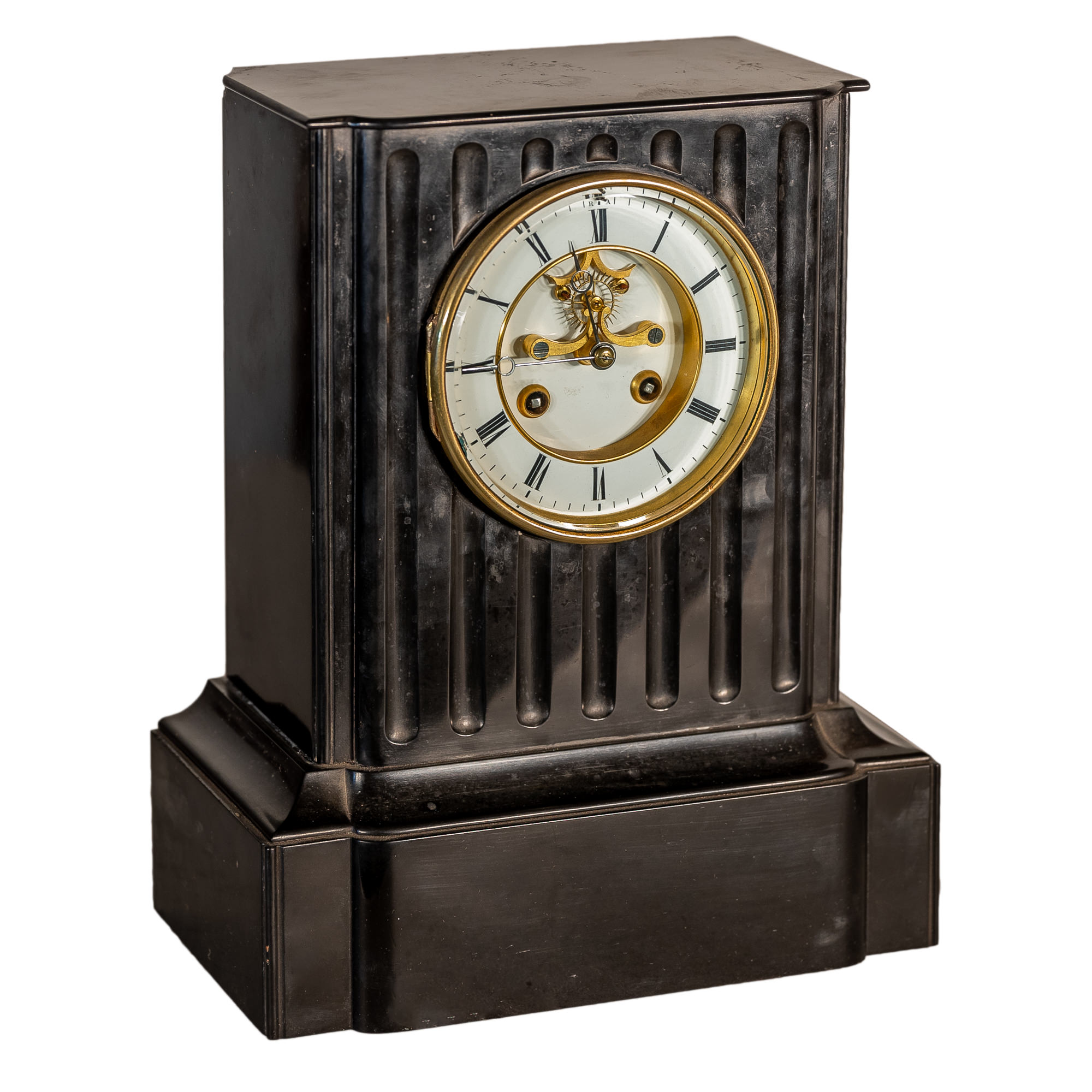 'French Japy Freres Black Slate Striking Mantle Clock with Brocot Visible Escapement Circa 1880'