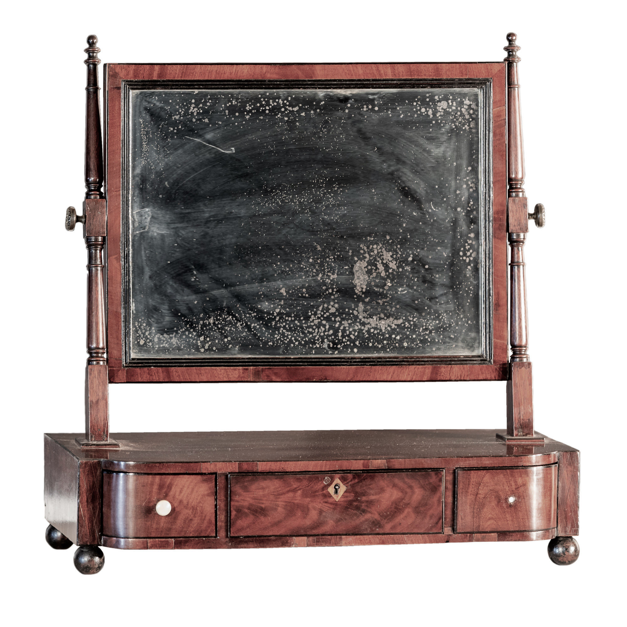 'George III Ebony Strung Mahogany Bowfront Toilet Mirror With Three Drawers Early 19th Century'