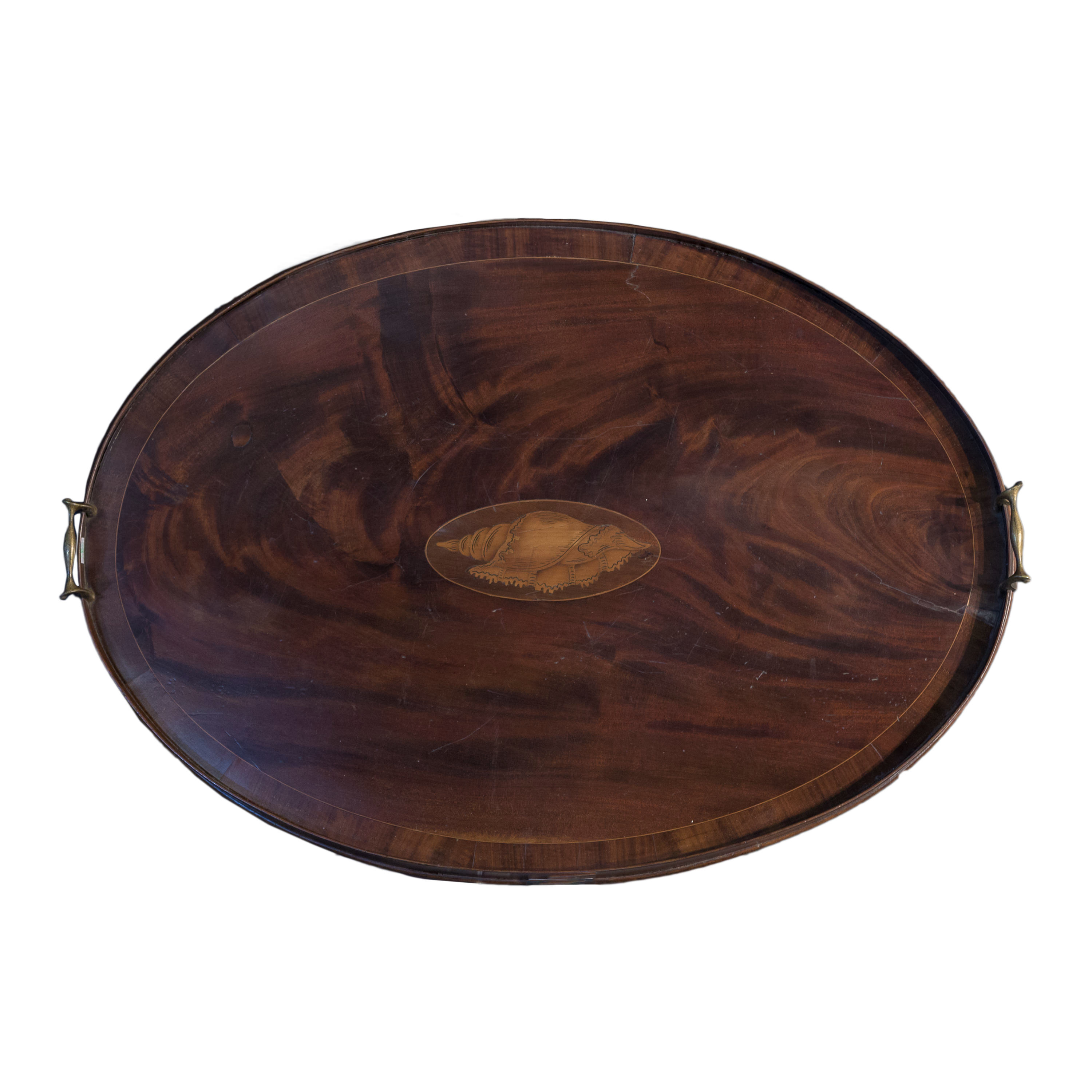 'George III Crossbanded and Boxwood Strung Mahogany Butlers Tray with Inlaid Shell Motif Circa 1800'
