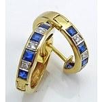 18ct Gold Sapphire & Diamond Earrings