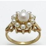 Vintage Pearl Cluster Ring