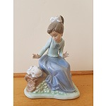 Lladro Girl with Dog Figure