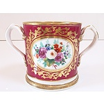 English Hand Painted Pearlware Loving Cup Staffordshire Circa 1840