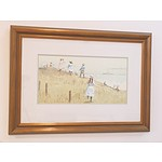 Gerrard Lants (1927-98) Children by the Seaside Watercolour